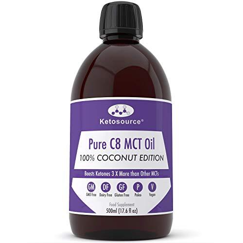 C8 MCT Aceite Puro | 100% Coconut | Produce 3 X Más Cetonas