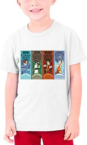 JKHHW Avatar The Last Air Bender T-Shirt a Quattro elementi per adolescente T-Shirt in Cotone Casual Manica Corta Ragazzi Bambini Ragazze