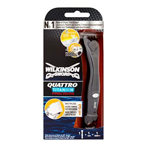 Wilkinson Sword Quattro Titanium Precision Herren Rasierer mit 1 Rasierklinge, 1 St