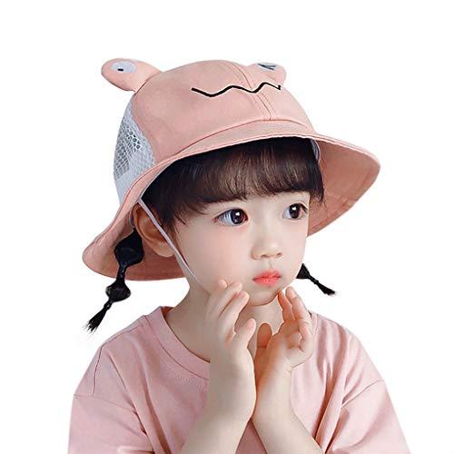 JIAHG Baby Sonnenhut Sommerhut Superleichtes Mädchen Schirmmütze mit Bindebändern Atmungsaktive Eimer Hut für Säugling Kind Kleinkind, 48cm