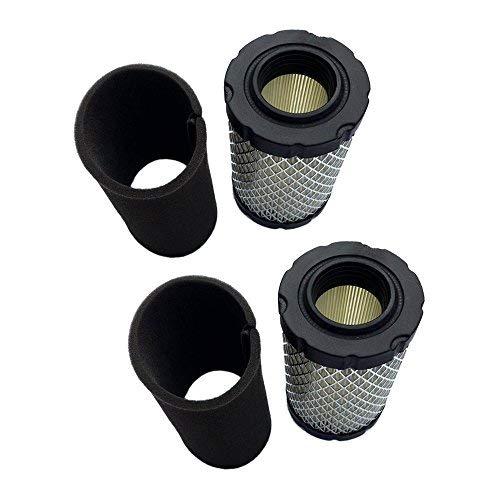 2 Luftfilter mit Vorfilter für Briggs & Stratton 796031 594201 590825 591334 797704 John Deere MIU1303 GY21435 MIU13963