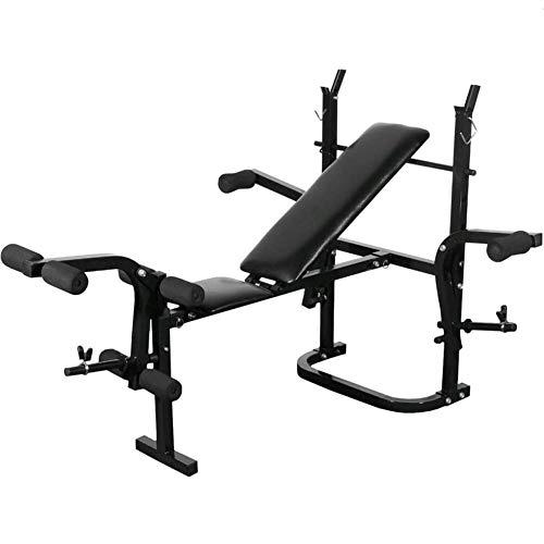 Banco de Pesas Ajustable, Banco de Musculación Plegable con Soporte de Pesas, Máquina de Fitness Gimnasio Hogar