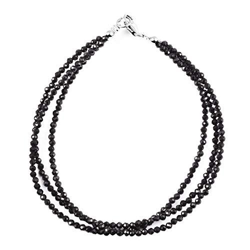Shop LC Delivering Joy - Pulsera de plata de ley 925 con múltiples hebras, color negro, para mujer, talla 19 cm Ct 18