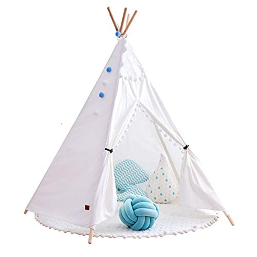 Kid Tent Indoor Children's Tent, Skin-friendly Cotton & Solid Wood, Easy to Install Home Play Tent, 3 Colors, 110x165cm (Color : White, Size : Without mat)