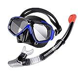 Frpower Sílice Máscara De Buceo Snorkel Gafas Salto Gafas Y Tubo De Buceo Profesional Salto De La Máscara De La Respiración del Tubo Intercambiable Miopía Gafas Conjunto del Tubo Respirador,Azul