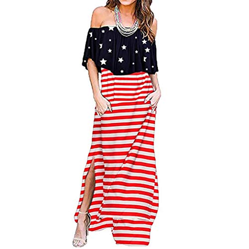 Forthery Womens July 4th American Flag Printed Off The Shoulder Ruffle Dress Side Split Beach Maxi Dress with Pockets(Red,XL=US 10)