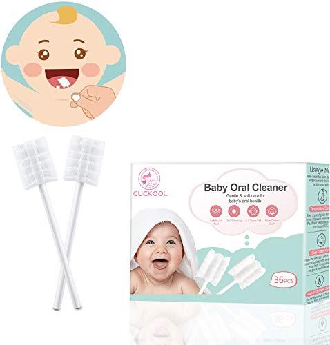 Cepillo de dientes para bebés, limpieza de cepillos de dientes para bebés de encías desechable Lengua Cepillo de dientes de gasa Palillo de limpieza oral para bebés Cuidado dental durante 0-36 meses