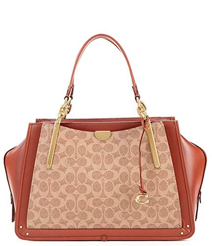 Price comparison product image COACH Women's Coated Canvas Signature Dreamer 36 Tan / Rust / Brass One Size