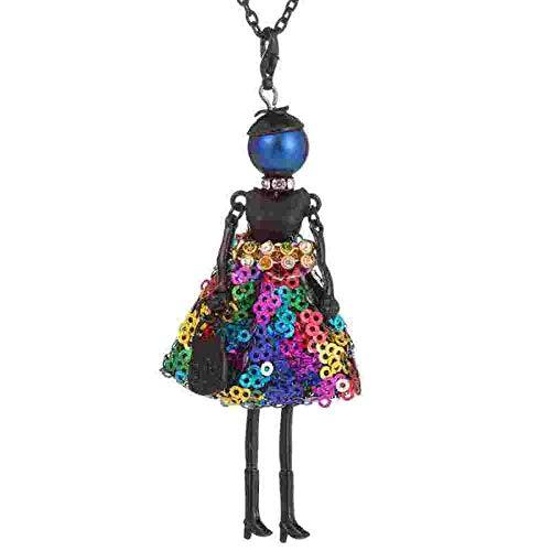 kliy Ketten Für Damen Farbige Pailletten Kleid Design Mode Puppe Halskette Für Mädchen Kinder Schwarz Lange Kette Aussage Halskette Frauen-C
