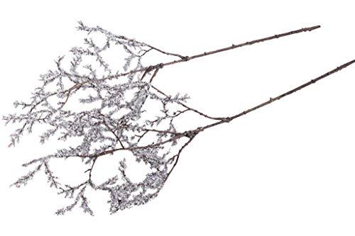 DPI künstlicher Deko-Zweig mit Glitter (2 Stück) (Silber)
