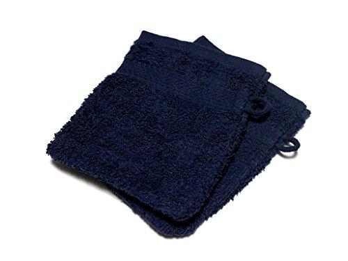 Soleil d'Ocre Lot de 2 Gants de Toilette UNI Bleu 450gr/m2, Coton, 16 x 21 cm