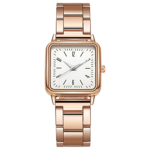 OWZSAN Mujeres Gold Watch Women Square Relojes Femeninos De La Marca De Lujo De Lujo De Lujo De Acero Inoxidable De Acero Inoxidable Reloj De Pulsera Reloj Digital (tamaño : White)