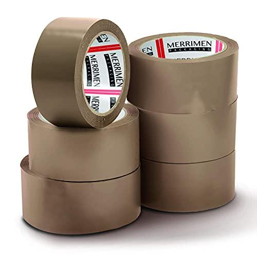 Merrimen Lot de 6 rouleaux de ruban adhésif d'emballage marron 48 mm x 66 m pour colis et boîtes Ce lot de 6 rouleaux de ruban adhésif d'emballage robuste marron fournit un joint solide