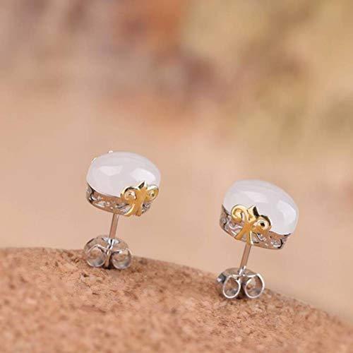 LOt Pendiente de Gota para el Oído S925 Joyería de Plata Esterlina Pendientes de Botón de Nefrita Minimalistas Chapados en Oro para MujerBlanco, Plata 925