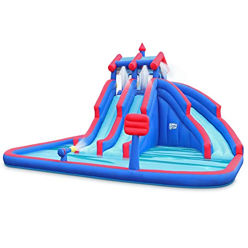 Deluxe Inflatable Water Triple Slide Park – Heavy-Duty Nylon Bouncy Station for Outdoor Fun - Climbing Wall, 3 Slides & Splash Pool – Easy to Set Up & Inflate with Included Air Pump & Carrying Case