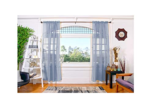 All American Collection Doli Sheer Curtains | Two 54 x 84 Panels (Dusty Blue)