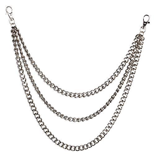 ZOYLINK Brieftasche Kette Hip Hop Style Triple Chains Snap Verschluss Jeans Hose Kette