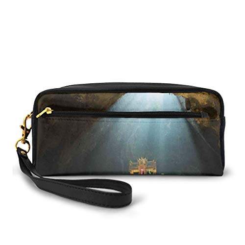 Pencil Case Pen Bag Pouch Stationary,View from Inside of Buried Den to Beach and Sky Italian Sea Coast Sardinia,Small Makeup Bag Coin Purse