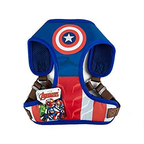 Marvel Comics Captain America Superhelden-Hundegeschirr für große Hunde | kein Ziehen Hundegeschirr | rot, weiß und blau No Escape Large Hundegeschirr Captain America Kostüm in Größe L (L)
