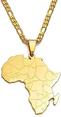 LBBYLFFF Collar Moda Collar Estilo Hip-Hop Mapa de África Collares Pendientes Joyas de Color Dorado para Mujeres Hombres Mapas africanos Joyas Regalos