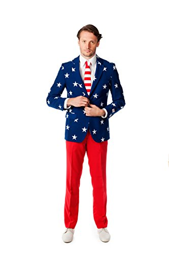 OppoSuits Men's Stars and Stripes Party Costume Suit, Blue/Red/White, 38