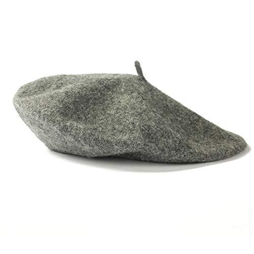 LONGJUAN-C Moda Moda Mujeres Wool Bool Sombreros Invierno Color Sólido Boina Femenina Capas de Capas Invierno Todos los Gorras de Caminar cálidas combinadas Clásico (Color : Grey)