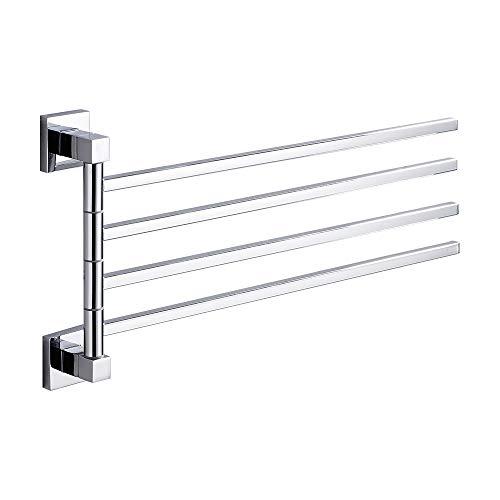 ODOMY Toallero de barra de baño de acero inoxidable cromado para ducha de 2/3/4 brazos giratorio montaje en pared con materiales de fijación 415 mm de largo