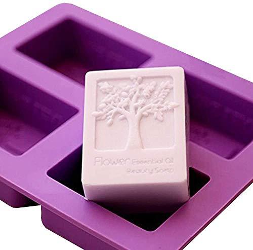 POFET 2 stampi per sapone a forma di albero della vita, 4 cavità quadrati in silicone per vasca da bagno e sapone, stampi artigianali fai da te fatti a mano