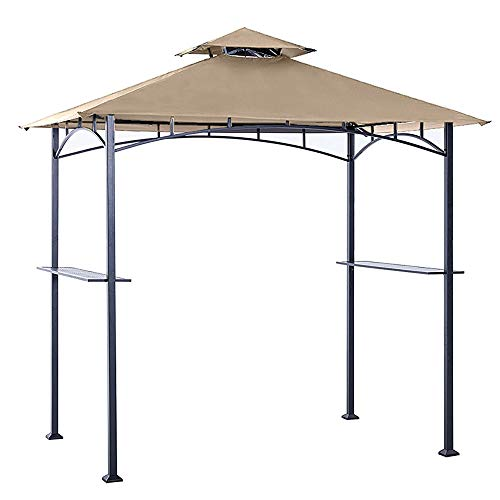 ABCCANOPY 8' X 5' Grill Shelter Replacement Canopy roof ONLY FIT for Gazebo Model L-GZ238PST-11 Beige with Rip Lock Technology