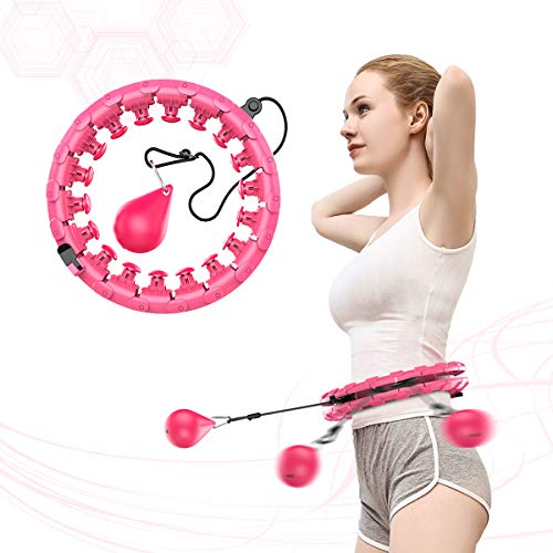 NGC-C Weighted Hula Hoop for Adults Beginners do not Fall,24 Knots, Abdomen Fitness Increase Beauty, 2 in 1 Fitness Weight Loss and Massage, Detachable