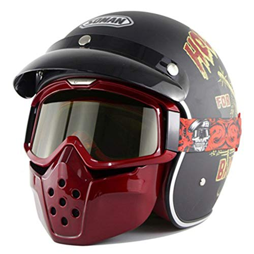 HZ Crazy helmet Casco Moto, Retro Scooter Helm Casco Medio Abierto Protección...