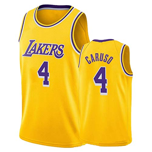 BCVDF Lakers # 4 Alex Caruso Basketball Jersey Atmungsaktiver Stoff Sportswear Unisex Ärmelloses T-Shirt S Yellow