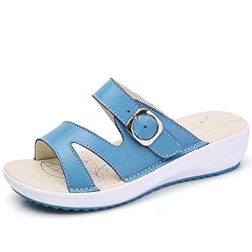 FAYHRH Sandalias Pantuflas de Estar por casa de Hombre,Zapatillas de Verano, Sandalias de Playa al Aire Libre con tacón Plano y Pendiente-Blue_40