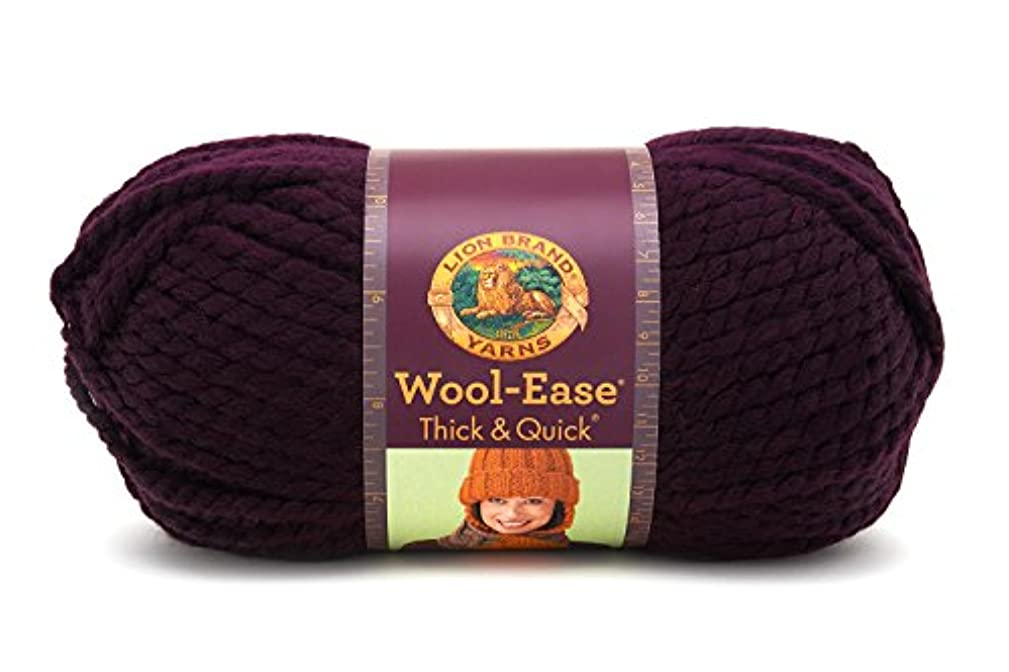 Lion  640-147 Wool-Ease Thick & Quick Yarn , 97 Meters, Eggplant