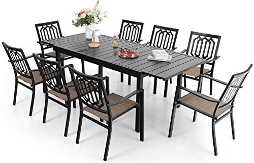 Sophia & William Outdoor 9 Pieces Dining Set with 8 Metal Chairs of Textilene Seat and 1 Expandable Rectangle Table with Umbrella Hole, Modern Patio Furniture for Poolside, Porch, Patio, Backyard