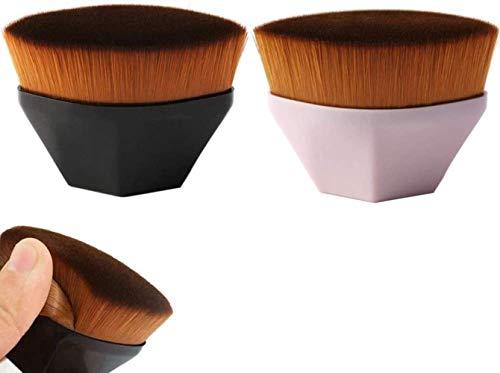 FANLIU 2 pièces Baguette sans défaut Pinceau fond de teint, haute densité transparente Pinceau fond de teint, for liquide mélangé, crème ou poudre Flawless cosmétiques (rose + noir)