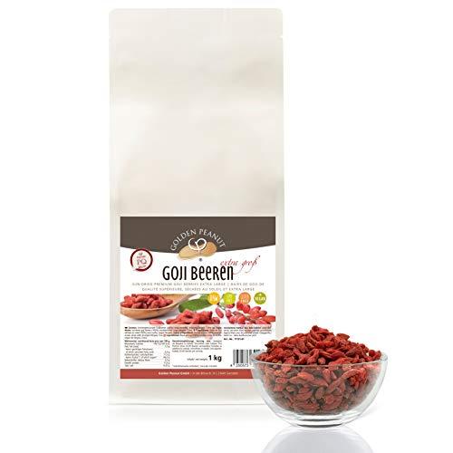 Goji Beeren sonnengetrocknet 1kg| ungeschwefelt| ohne Zusätze | frisch aus neuer Ernte | Glutenfrei | weiche Konsistenz| Rohkostqualität| Golden Peanut