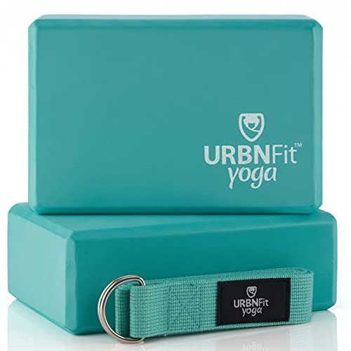 URBNFit Yoga Block - (2PC Blocks Set with Stretch Strap) - Moisture Resistant High Density EVA Foam Block - Improve Balance and Flexibility Perfect for Home or Gym - Free PDF Workout Guide (Teal)