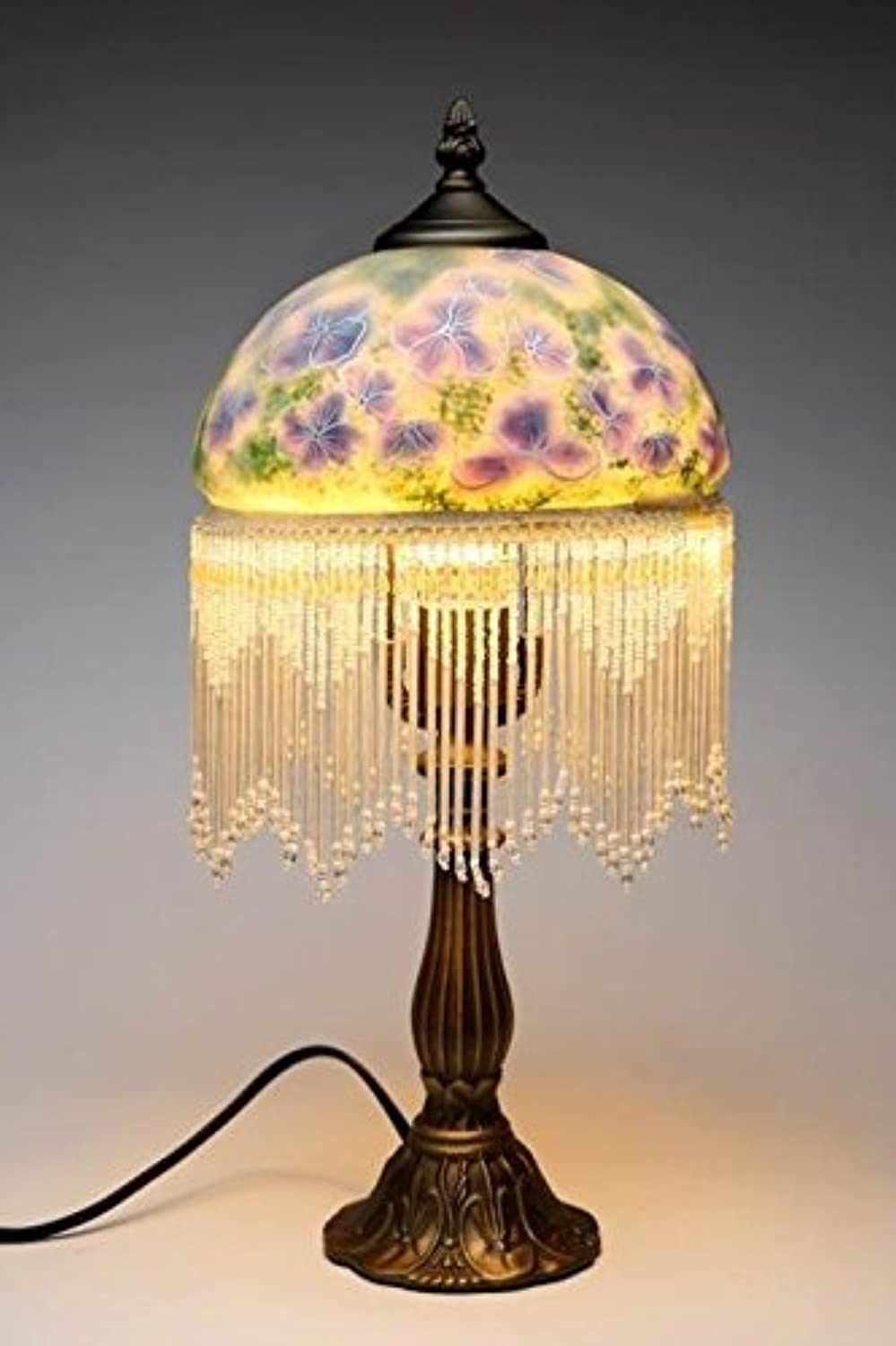 CG 8019 17.5  Decorative Standing Lamp with bluee Pansies and Hanging Beads