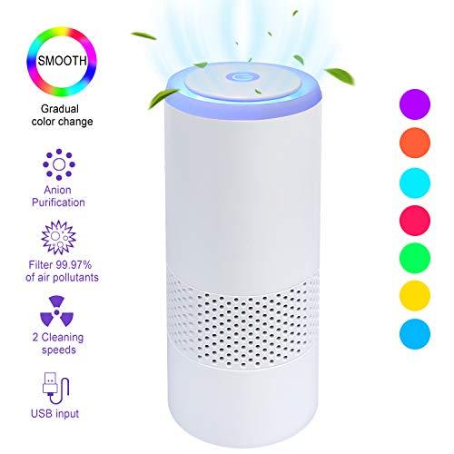 Luftreiniger Auto Allergie HEPA Filter Lonisator, LED Air Purifier 99,97{c9236e3aaf244183911c3d797ea605276a6c3e6285c4242e7b537b70fc94bb0e} Filterleistung,2 Geschwindigkeiten USB Luftreiniger für Pollen Haustierallergene Allergiker Raucher Asthmatiker