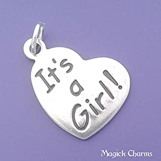 ITS A Girl Heart Charm 925 Sterling Silver Pendant Jewelry Making Supply, Pendant, Charms, Bracelet, DIY Crafting by Wholesale Charms