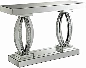 Coaster Avonlea Mirrored Accent Console Table in Silver