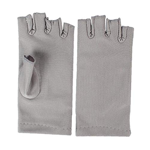 Nail Dryer Anti Uv Protection Gloves Led Lamp Radiation Uv Shield Fingerless Gloves Nail Art Dryer Tools for Salon Home 1 Pair Grey