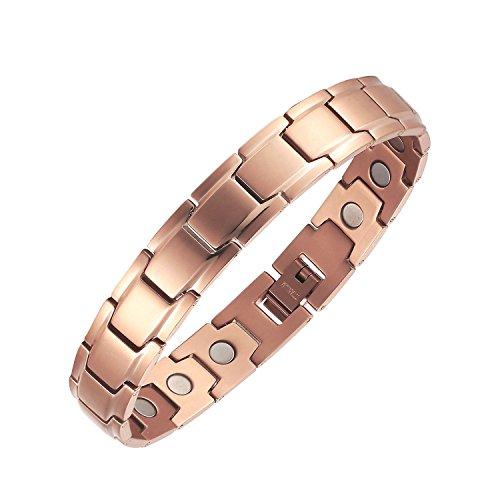 Moocare pulsera magnética de elegante oro rosa de titanio a