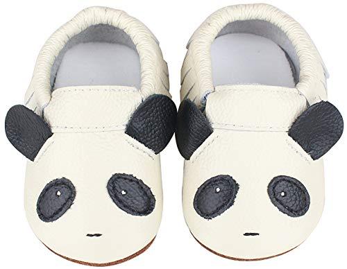 Vorgelen Zapatos de Cuero para Bebé Zapatillas de Piel para niños y niñas Primeros Pasos Zapatos Pantuflas Infantiles Patucos de Suela Suave - Blanco Panda 6-12 Meses