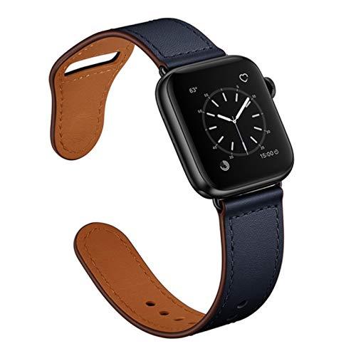 Correa para apple watch band 44mm 38mm 42mm 40mm cinturón de cuero correa de reloj inteligente para iwatch SE 6 5 4 3 2 1 pulsera de muñeca-midnigt azul 1,42mm o 44mm