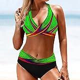 YHWW Traje de baño,Women Sexy Swimwear Push Up Swimsuit High Waist Bikini Set Bathing Suit Beachwear Swimming Suit,Green,XL