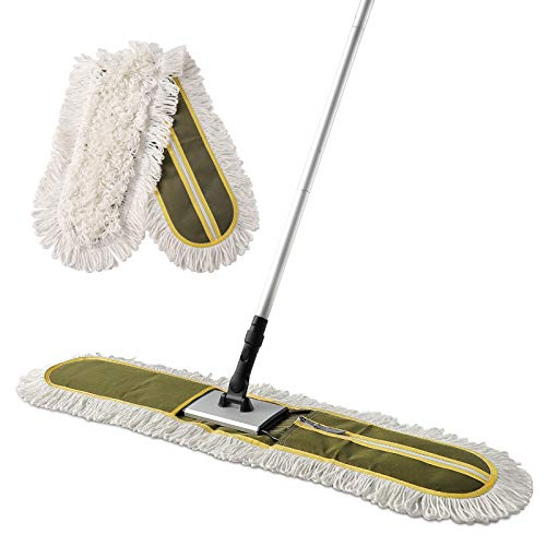 """CLEANHOME 36"""" Commercial Dust Mops for Floor Cleaning Heavy Duty Hotel Company Household Cleaning Supplies for Hardwood, Tiles, Marble Floors,Green"""