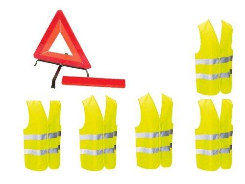 Kit auto sécurite : 1 triangle de signalisation + 5 gilets jaunes EN471