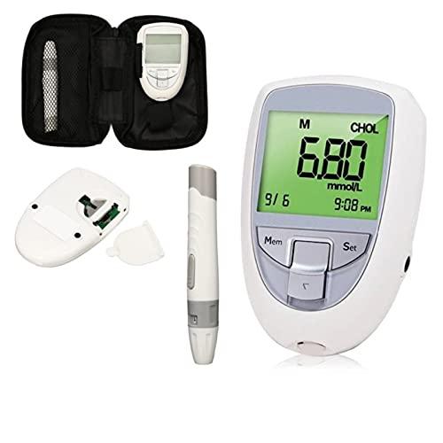 Enkelt att Använda Hemblodprovsats, Tre-i-ett-blodsocker, urinsyra och kolesterolmätare Hem Blood Glucose Meter Kit Tester Monitor,Inget Behov av att Vänta och Exakt Mätning (Color : 1HT+10UA+10LT)